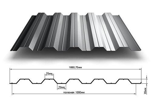 Профнастил 0,55х1000 НС35 оцинкованный длиной от 0,5 до 12 метров,Профлист НС-35