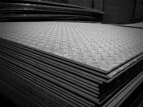 Лист рифленый стальной горячекатанный 10х1500х6000 с узором чечевица ГОСТ 8568