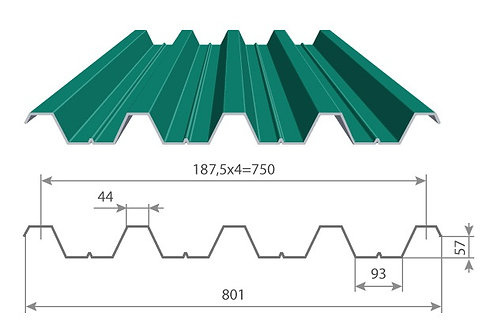 Профнастил 0,8х750 Н57 оцинкованный длиной от 0,5 до 12 метров, Профлист оц. Н57