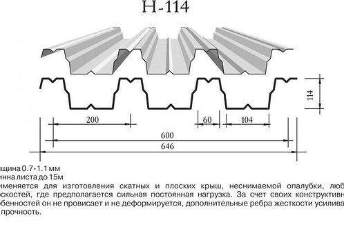 Профнастил 0,9х600 Н114 оцинкованный длиной 6 метров, Профлист оц. Н-114