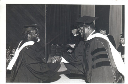 Graduation 1984 from Berklee College of Music - The Great Oscar Peterson handing me my degree!