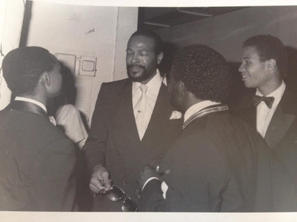 Back stage taking a break on the gig with the great Marvin Gaye!