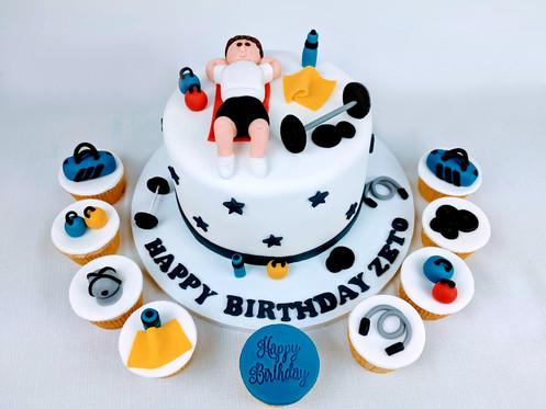 Gym-themed cake