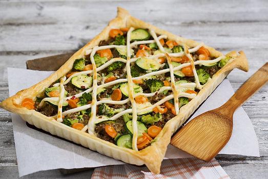 Vegetable & beef tart