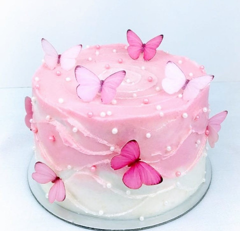 Pink butterfly cake.
