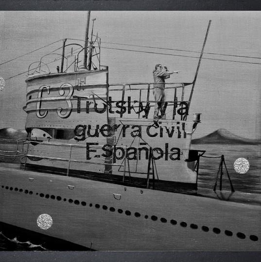 Trosky y la guerra civil española I - Resin, diamond dust, stainless steel, iron oxide mica, granite, graffito, aluminum and oil on panel - 80cm x 80cm - 2010