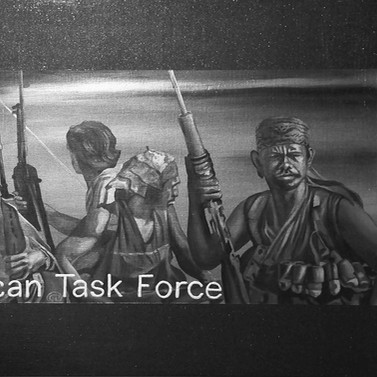 African Task Force - Iron oxide, stainless steel, mica & acrylic on panel - 70cm x 122cm - 2009