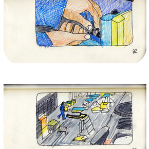 areneingang - Screenplay and Story board - Cover page and page 33 -  12.5 cm x 21 cm - 2011
