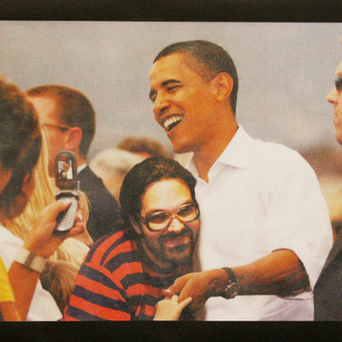My first time with Obama - Graphite, Diamond dust, glass and acrylic on photograph - 97cm x 122cm - 2008