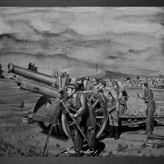 Trosky y la guerra civil española III - Resin, diamond dust, stainless steel, iron oxide mica, granite, graffito, aluminum and oil on panel - 80cm x 80cm - 2010