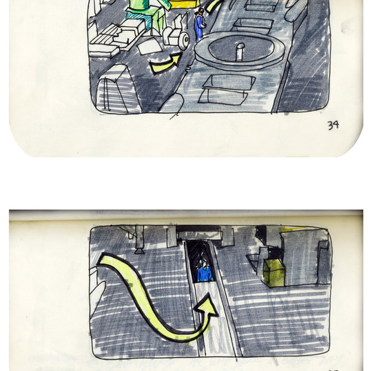 areneingang - Screenplay and Story board - Cover page and page 35 -  12.5 cm x 21 cm - 2011