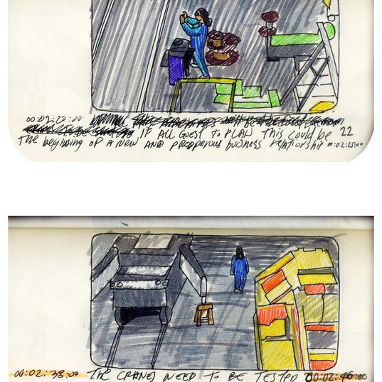 areneingang - Screenplay and Story board - Cover page and page 23 -  12.5 cm x 21 cm - 2011