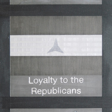 Loyalty to the Republicans - Iron oxide, stainless steel, Mica & acrylic on panel - 244cm x 122cm - 2009