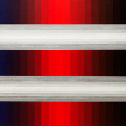 Chronology of five equal horizontal bands from blue to red to black, (top and bottom) alternating with white... - Acrylic on Panel -457mm X 609.5mm  - 2020