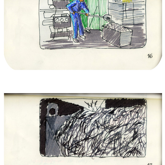 areneingang - Screenplay and Story board - Cover page and page 17 -  12.5 cm x 21 cm - 2011