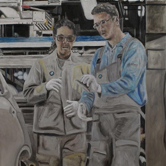 Manos a la obra- 40cm x 40cm - Oil on Aluminum - 2011
