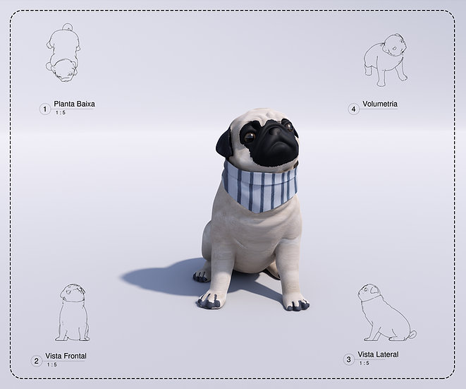 Dog Pug Revit High Quality