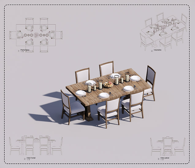 Table + Chair Revit 3 High Quality