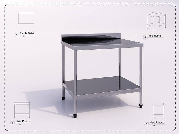Industrial Steel Table 100 x 70 x 90  Revit High Quality
