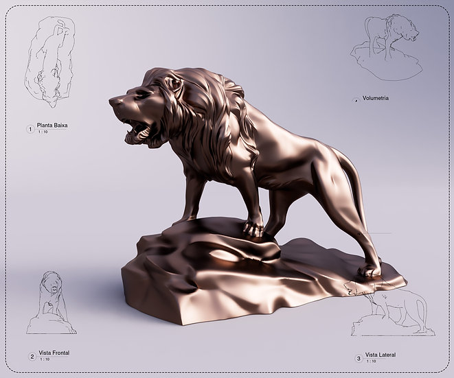 Sculpture Lion Revit High Quality