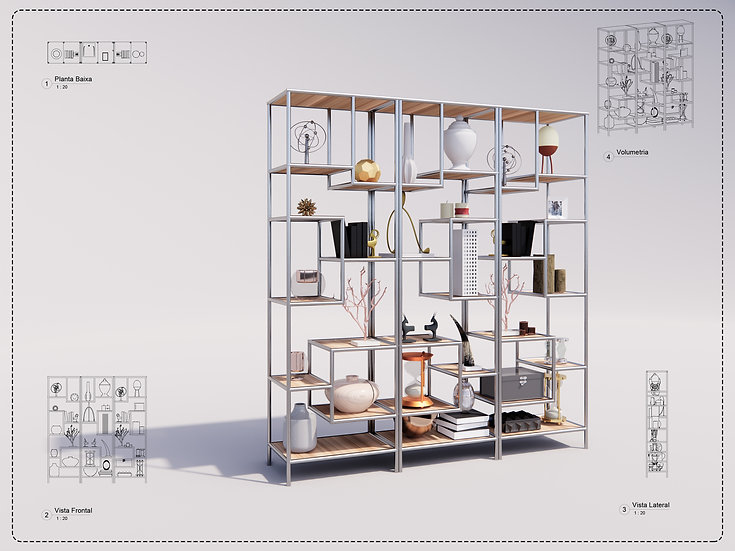 Decor Bookcase 01 Revit High Quality
