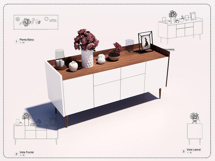 Parametric Sideboard Revit High Quality