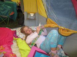 Evelyn in her tent!