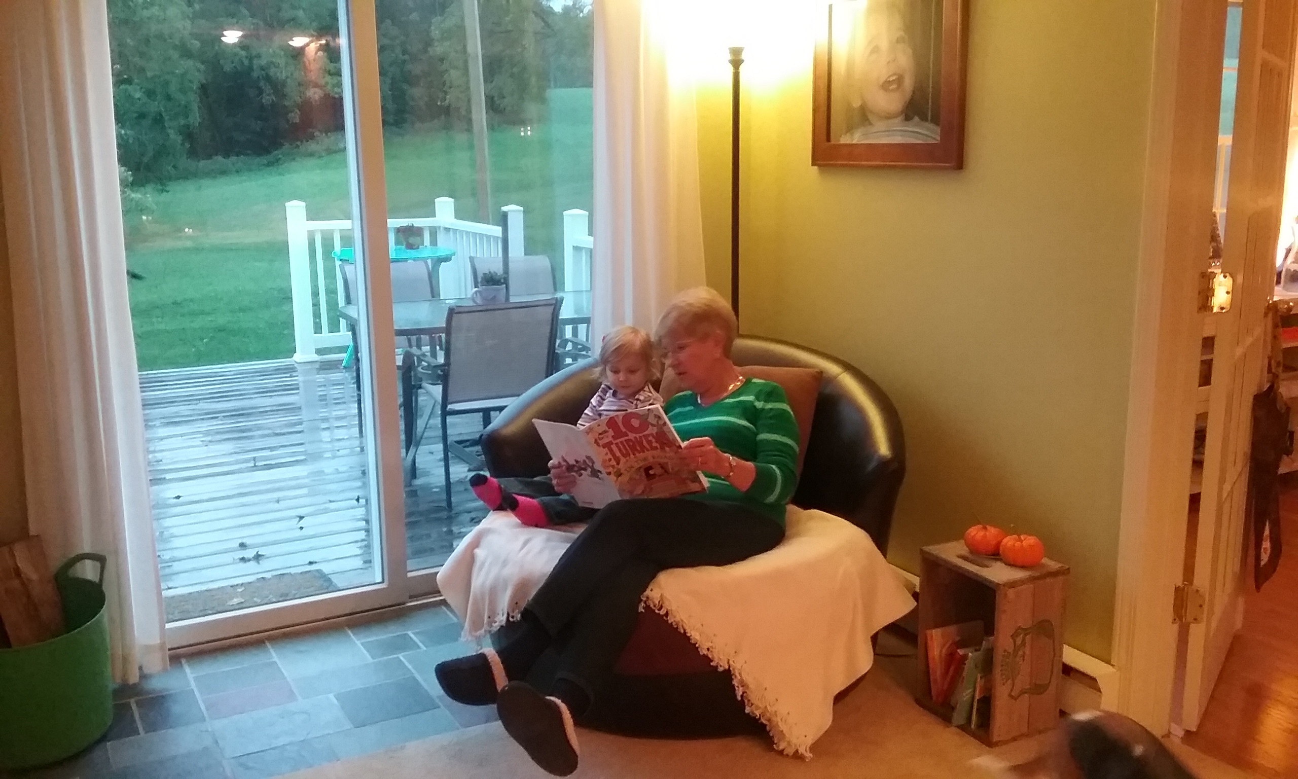 Rainy day reading with a friend