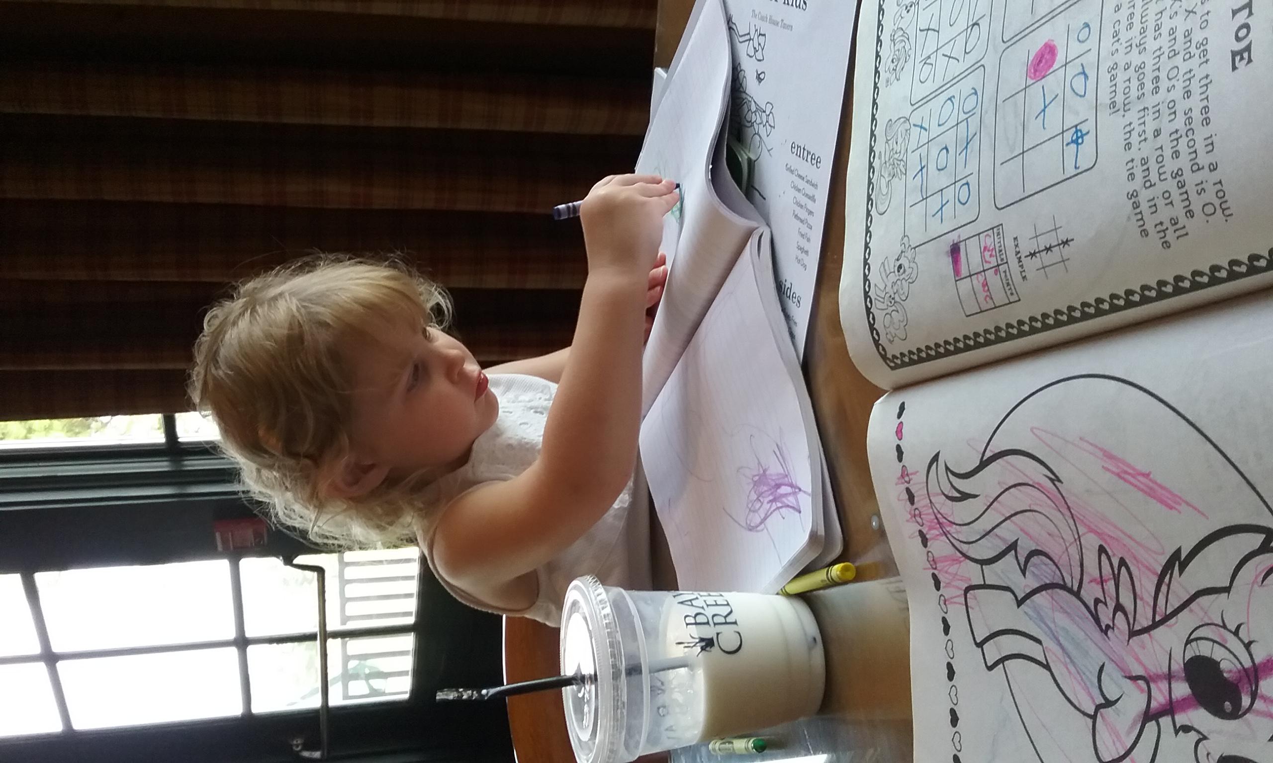 Restaurant fun: notebook & crayons