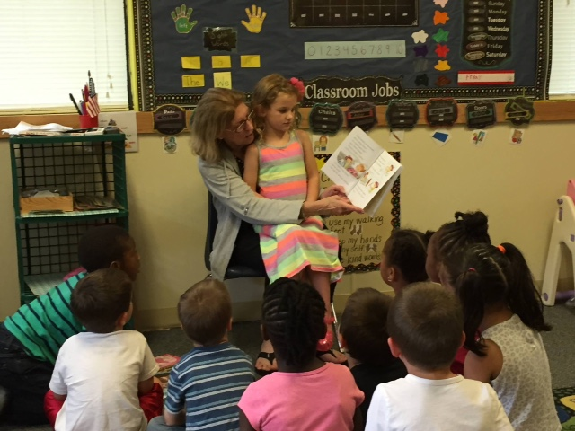 Nonny reading to Caroline's class