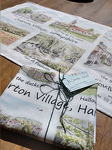 Jo south Village scenes Tea Towel packag