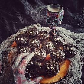 Dark chocolate cupcakes with black garlic frosting