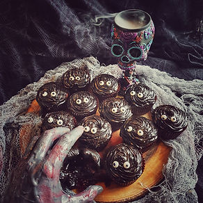Dark chocolate cupcakes with black garlic frosting