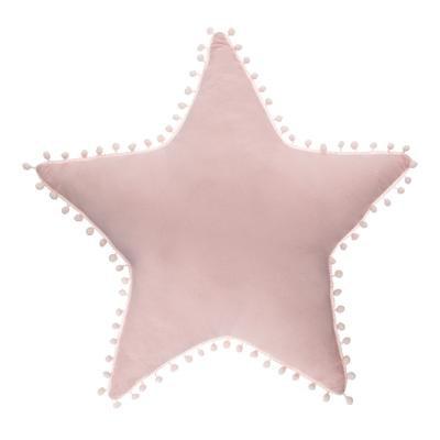 Polštář hvězda s bambulemi , růžový