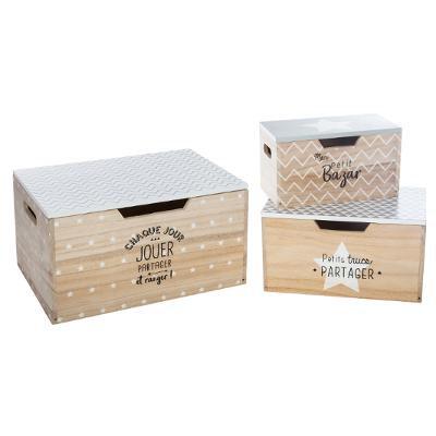 Sada dřevěných boxů s víkem