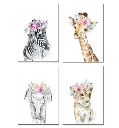 Plakáty safari zvířat s květinami | 4 vzory
