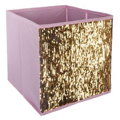 Malý úložný box flitr růžový a zlatý