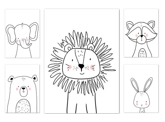 Černobílé plakáty lesních zvířat | 5 vzorů