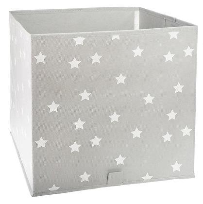 Úložný box šedý s hvězdičkami
