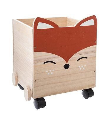 Dřevěný box na kolečkách liška