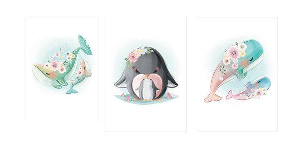 Plakáty mořští živočichové | 3 vzory