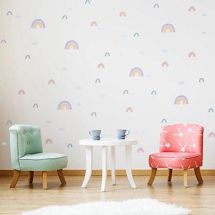 Samolepky na zeď  s duhovým motivem, pastelové