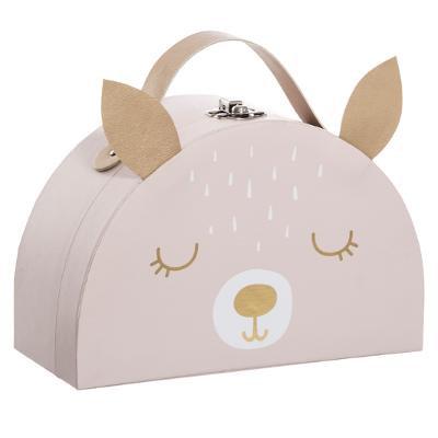 Růžový kartonový kufřík, motiv srna