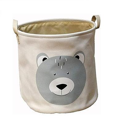 Koš na hračky šedý medvěd