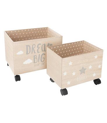 """Sada dřevěných boxů na kolečkách """"Dream Big"""""""