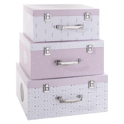Sada velkých růžových kartonových kufříků