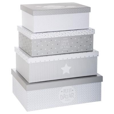 Sada velkých šedých kartonových boxů s víkem