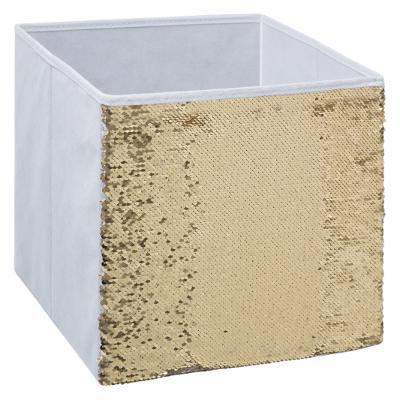 Úložný box flitr, bílý a zlatý