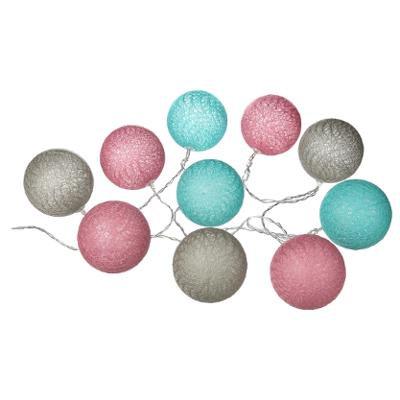 Girlanda s 10 LED koulemi, růžová/tyrkysová/šedá