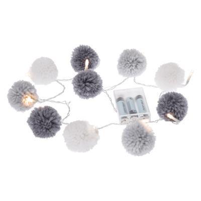 Girlanda LED s 10 šedými bambulemi